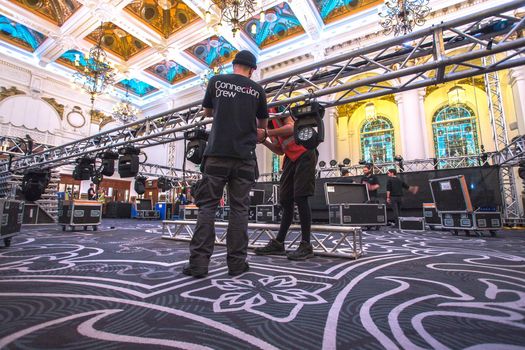 Connection Crew rigging lighting at 8 Northumberland Avenue for awards show